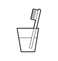 glass with dental toothbrush vector image vector image