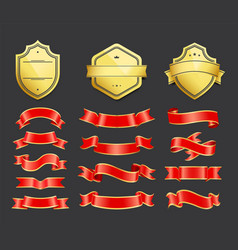 gold coats arms with ribbons decoration vector image