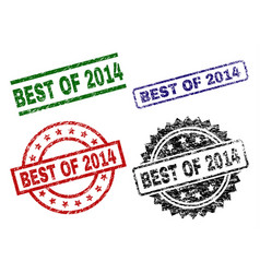 Grunge textured best of 2014 stamp seals vector