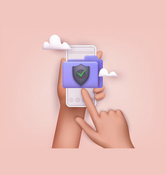 hand holding phone with secure confidential files vector image