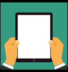 Hand touching blank screen of tablet computer vector