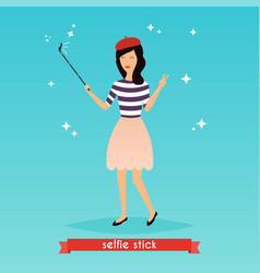 Hipster girl taking a selfie with mobile phone vector