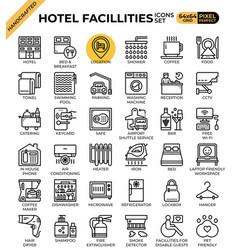 Hotel facillities concept icons set vector