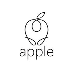 Line craft apple vector