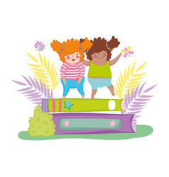 Little chubby girls with pile books vector