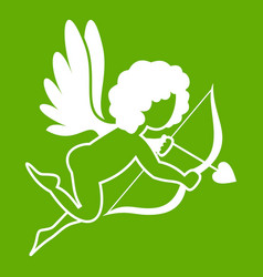 love cupid icon green vector image