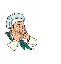 male cook scared gesture vector image