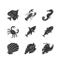 Marine animals glyph icons set swimming shark vector
