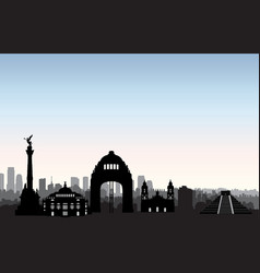 mexico city skyline cityscape landmark silhouette vector image