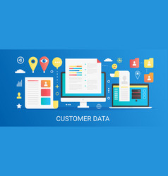 Modern flat gradient customer data concept vector