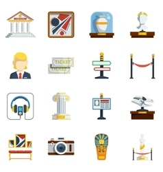 Museum flat icon set vector