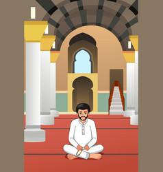 Muslim man praying in a mosque vector