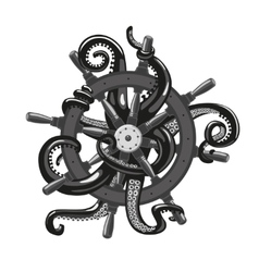 Octopus holding a helm Tattoo style vector image