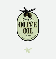 olive oil logo label food product design engraving vector image