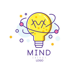 Original logo with light bulb in linear style vector