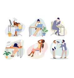 overworked stressed people flat isolated vector image