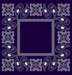 paisley bandana- blue and white pattern vector image