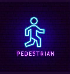 pedestrian neon label vector image