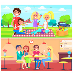 Picnic cafe poster happy family have fun together vector
