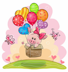 Piggy girl in the box is flying on balloons vector