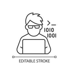 Programmer computer expert linear icon vector