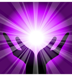 Purple background with hands vector
