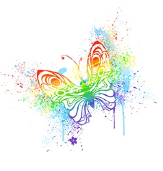 Rainbow butterfly vector