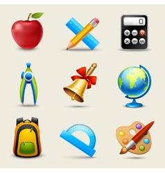 Realistic School Icons Set vector
