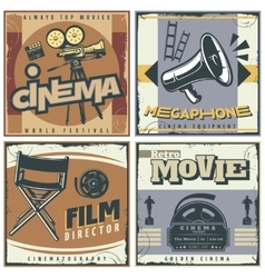 Retro Cinema Labels Set vector image
