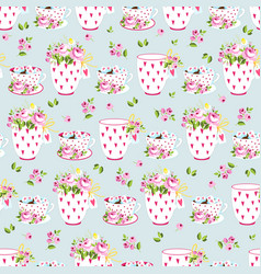 romantic seamless pattern with flowers and cups vector image