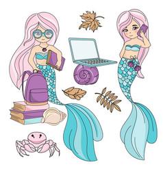 Sea school mermaid autumn underwater vector
