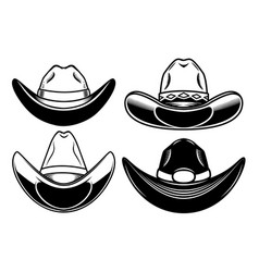 set cowboy hat isolated on white background vector image