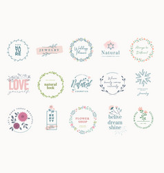 Set elegant badges for beauty vector