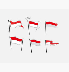 Set indonesian flag on white background vector