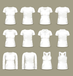 set isolated white woman t-shirts and tunic vector image