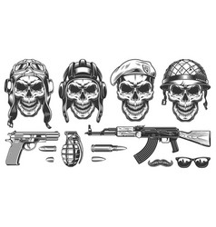 Set of millitary skulls vector