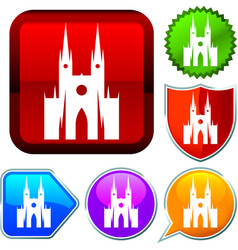 Set shiny icon series on buttons cathedral vector
