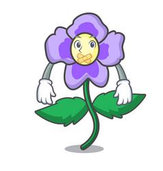 Silent pansy flower mascot cartoon vector