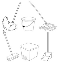 Silhouettes of the different cleaning materials vector