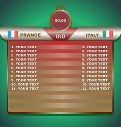 Soccer Scoreboard with Stopwatch vector