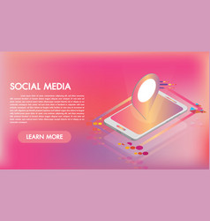social media apps on a smartphone 3d isometric vector image