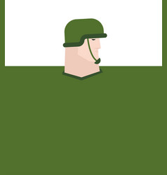 soldier in helmet portrait template big defender vector image
