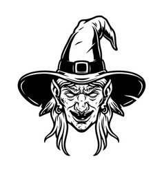 spooky witch head in hat concept vector image