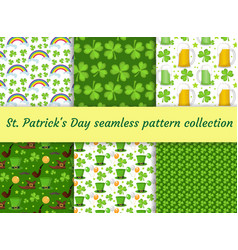 st patricks day seamless pattern collection vector image