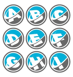 Swoosh Alphabet Logo Icons Set 1 vector