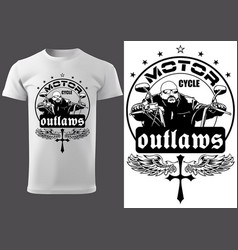 T-shirt design with motorcyclist and inscriptions vector