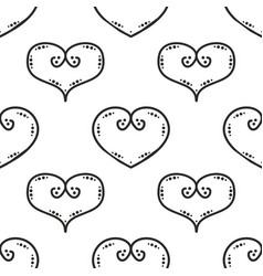 tile pattern with black hearts on white background vector image