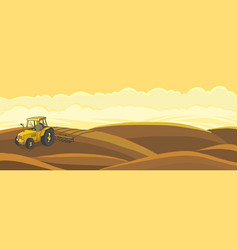 Tractor plows agricultural farming field vector