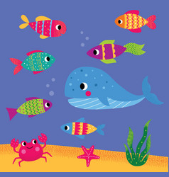 underwater life cartoon set - fishes vector image