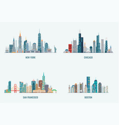 usa cities skylines set vector image
